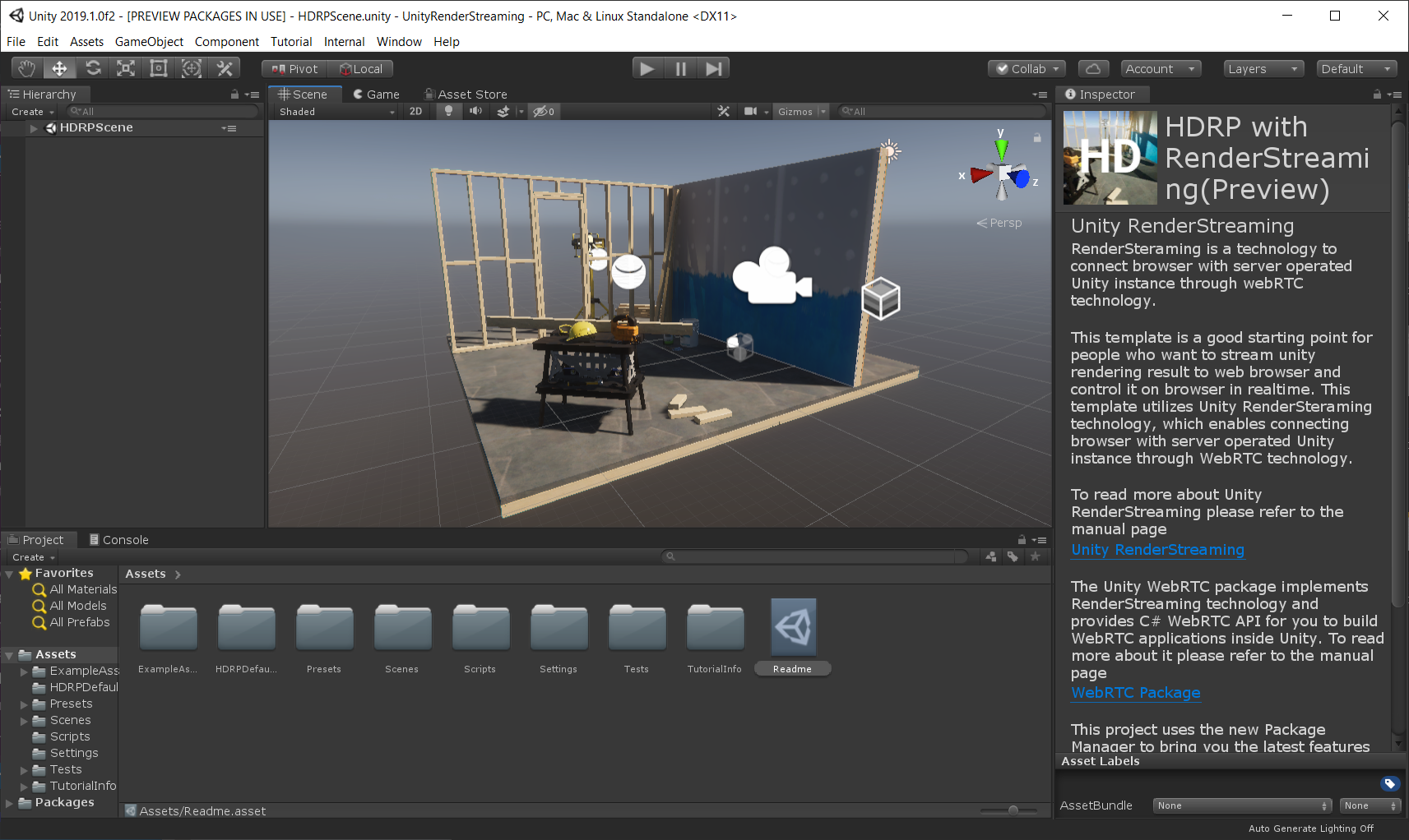 Packages/com.unity.renderstreaming/Documentation~/images/hdrpscene.png